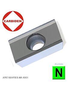 APKT1604PDER-MA KH01 Kietmetalinė plokštelė aliuminio frezavimui, poliruota, CARBIDEN