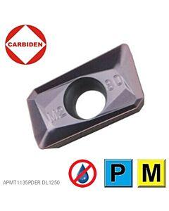 APMT1135PDER DL1250, Kietmetalinė plokštelė, plieno ir nerūdijančio plieno frezavimui, CARBIDEN
