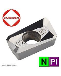 APMT113508PDER-G2 KH01 Aliuminio frezavimo plokštelė, poliruota, CARBIDEN