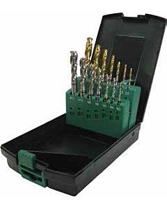 Mašininių sriegiklių rinkinys, aklai kiaurymei, HSS-E DIN371/376, M3, M4, M5, M6, M8, M10, M12, Grąžtai DIN338, HSS su TiN danga D2.5, D3.3, D4.2, D5, D6.8, D8.5, D10.2mm Combo, YG