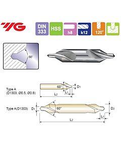 0,8X3,15X1,1X25mm, HSS(M2) CENTER DRILL FORM A,, YG, D1303008