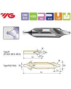 0.8X3.15X2.0X25mm, HSS(M2) CENTER DRILL FORM R, YG, D1363008