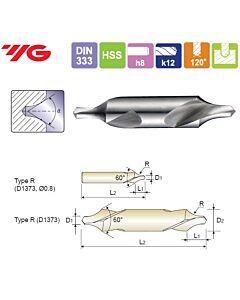 0.8X3.15X2.5X25mm, HSS(M2) CENTER DRILL FORM R, LEFT HELIX, YG, D1373008