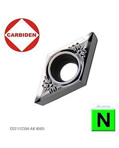 DCGT11T302-AK KH01, Tekinimo kietmetalinė plokštelė, aliuminiui, poliruota, CARBIDEN