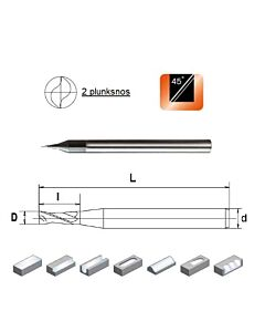 D0,9x1,8x4x50, Z-2, HN55, Kietmetalio mikrofreza aliuminiui ir plastikui, poliruota, HN55MSA2009