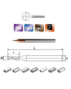 D0,7x1,4x4x50, Z-2, HN55, Kietmetalio mikrofreza su  TiXco danga, HN55MSS2007