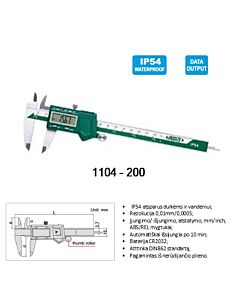 "IP54 Elektroninis slankmatis su ratuku, 200mm, atsparus vandeniui ir dulkėms,  (0-200mm/0-8""), DIN862, INSIZE, 1104-200"
