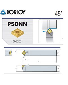 Tekinimo laikiklis, PSDNN2525-M15N, KORLOY