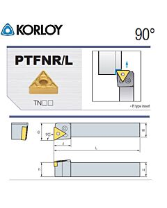 Tekinimo laikiklis, PTFNR1616-H16N, KORLOY