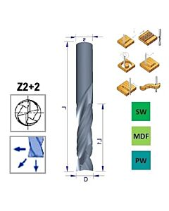 12mm, I-45, d-12, L-100, Z2+2, Kietmetalio freza, kelianti-spaudžianti, medienos frezavimui, V802.120.045.100