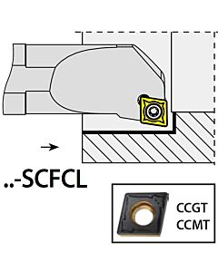 S08H-SCFCL06, 11X08X100XLH/CC0602,  ISO Tekinimo laikiklis, vidinis, YG
