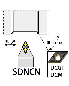 SDNCN2020K11, 20X20X125XNH/DC11T3,  ISO Tekinimo laikiklis, išorinis, YG