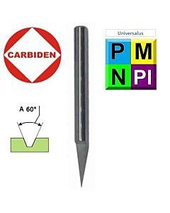 60° x 0,2 x 6 x 50, Graveris kietmetalinis, SFG60-0.2-50, CARBIDEN, CNC įrankiai metalo apdirbimui.