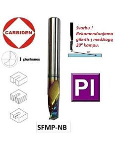 3mm x12x6x50 Freza kietmetalinė, Z1, poliruota, nanokompozitinė danga, plastiko frezavimui, CARBIDEN, SFMP3/6-12-NB