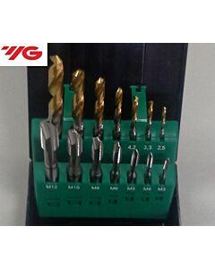 Mašininių sriegiklių rinkinys, kiaurai kiaurymei, HSS-E DIN371/376, M3, M4, M5, M6, M8, M10, M12, Grąžtai DIN338, HSS su TiN danga D2.5, D3.3, D4.2, D5, D6.8, D8.5, D10.2mm Combo, YG