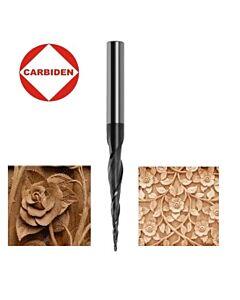 R1.0*15*D3.175*38, Konusinė freza su radiusu, medienos raštų frezavimui, CARBIDEN, TRC-R1.0-D3.175-15