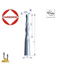 R-3 x 6mm,  I-42, S-8, L-100, Z-, Z-2, Kietmetalio freza radiusinė, kelianti medienos frezavimui, 3-laipsniai nuo centrinės ašies, V703.03.042.100D8