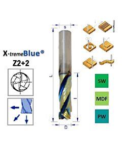 12mm, I-25, d-12, L-80, Z2+2, Kietmetalio freza, kelianti-spaudžianti su X-treme BLUE® danga, medienos frezavimui, V802.120.025.080XB, wood mills, N-POL