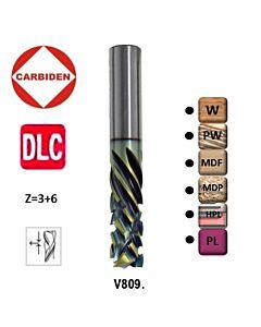 10mm, I-35, d-10, L-80, Z3+6, Kietmetalio freza, kelianti-spaudžianti su DLC danga, specelizuota drožlių plokštės LMDP frezavimui, V809.100.035.080XB