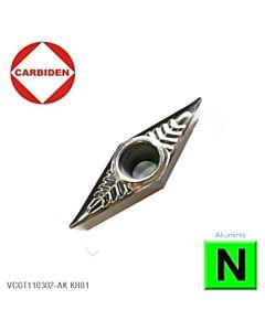 VCGT110304-AK KH01, Tekinimo kietmetalinė plokštelė aliuminiui, poliruota CARBIDEN