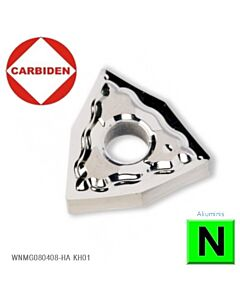 WNMG080408-HA KH01, Tekinimo plokštelė kietmetalinė, poliruota, aliuminiui ir palastikui tekinti, CARBIDEN