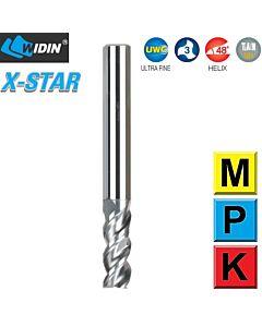 2,5mm x 8 x 6 x 50, Z3, H-48, Kietmetalio freza, nerūdijančiam plienui ir sunkiai apdirbamiems plienams, WIDIN, X-STAR, XCE503